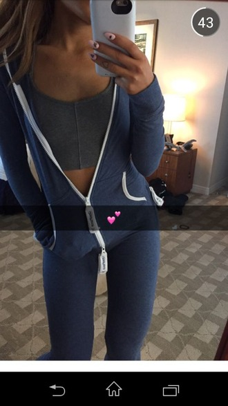 jumpsuit ariana grande sweat bra workout blue pajamas ariana grande jumpsuit