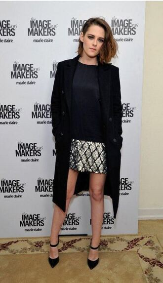 dress mini dress pumps coat kristen stewart fall coat fall outfits