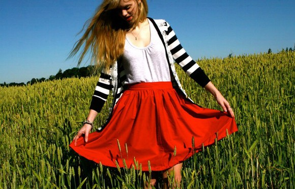 skirt red skirt summer high waisted skirt