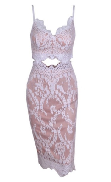dress nude white two piece dress