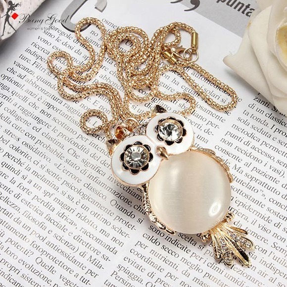 rhinestone jewels crystal banggood owl necklace