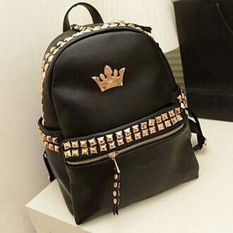 bag backpack black gold
