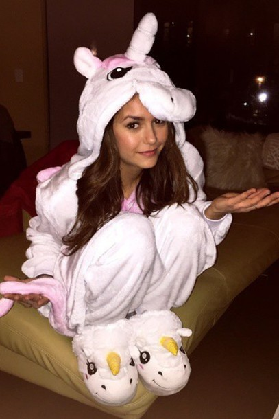 nina dobrev unicorn onesie pajamas shoes