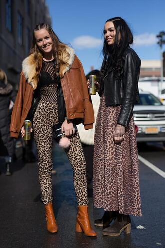 leggings nyfw 2017 fashion week 2017 fashion week streetstyle jacket brown jacket brown leather jacket leather jacket printed leggings top mesh mesh top fur collar jacket boots brown boots ankle boots 00s style