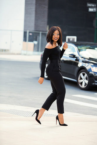 jadore-fashion blogger pants top make-up shoes fall outfits pumps high heel pumps black pants black top