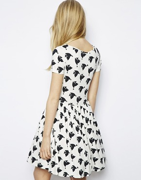 ASOS | ASOS Skater Dress In Bird And Heart Print at ASOS