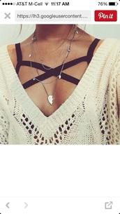 sweater,sports bra,purple,cozy,underwear,shirt,black boho bra,bra,black,tank top,white,girl,perfect,necklace,jewels,bff,best friends necklace,bff necklace,jewelry,top