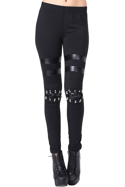 ROMWE   ROMWE Riveted Knee Faux Leather Panel Black Leggings, The Latest Street Fashion