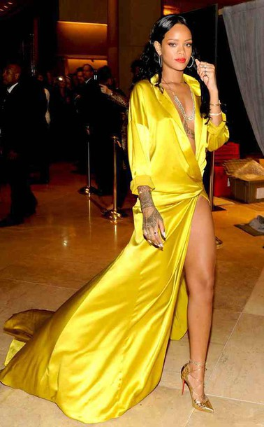 Dress: elegant, yellow dress, silk, slit dress, rihanna - Wheretoget