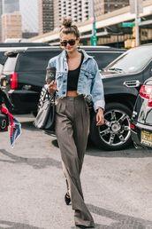 jacket,denim,cropped jacket,denim jacket,pants,top,black top,sunglasses
