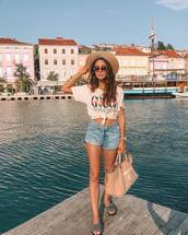 shorts,denim,t-shirt,bag,shoes,sunglasses,hat
