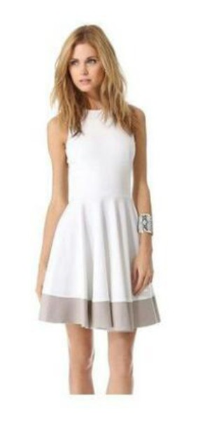 dress grey knee length dress stipe