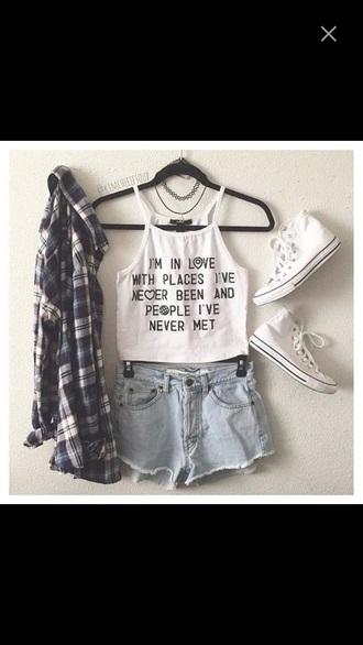 tank top halter crop top quote on it shorts
