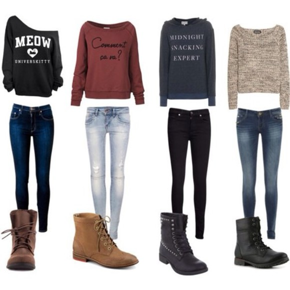 jeans blouse shoes sweater