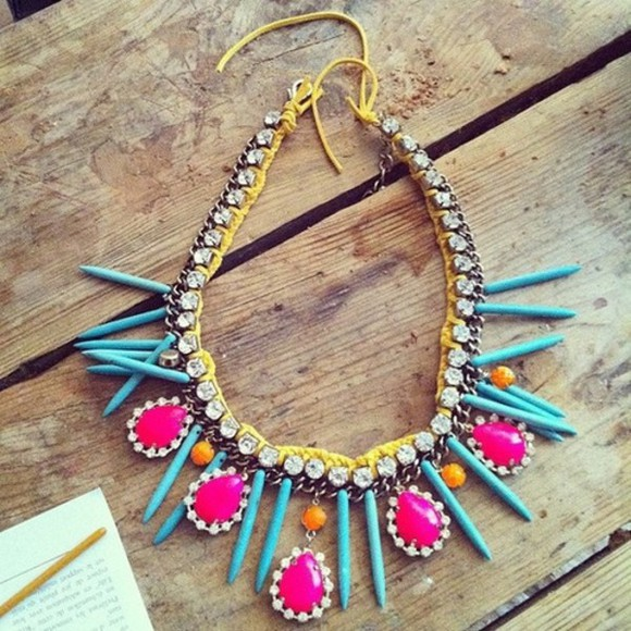 jewels necklace hipster colorful