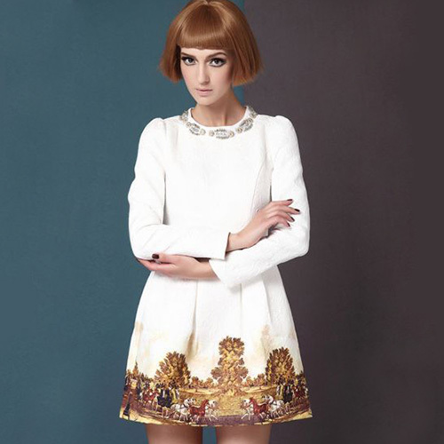 [grxjy56002529]fashion round neck long sleeve beaded floral print dress