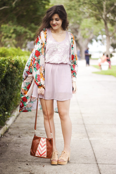 floral kimono a walk in the park bag shoes jewels chevron summer outfits summer dress hipster