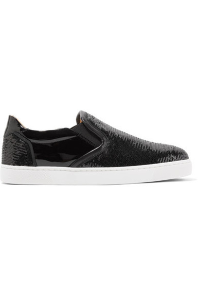 christian louboutin sneakers leather black shoes
