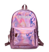 bag,girly,pink,holographic bag,backpack,crybaby,crybaby metallic pink