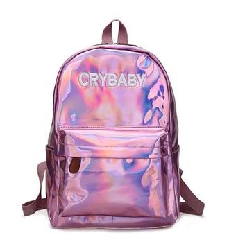 bag girly pink holographic bag backpack crybaby crybaby metallic pink