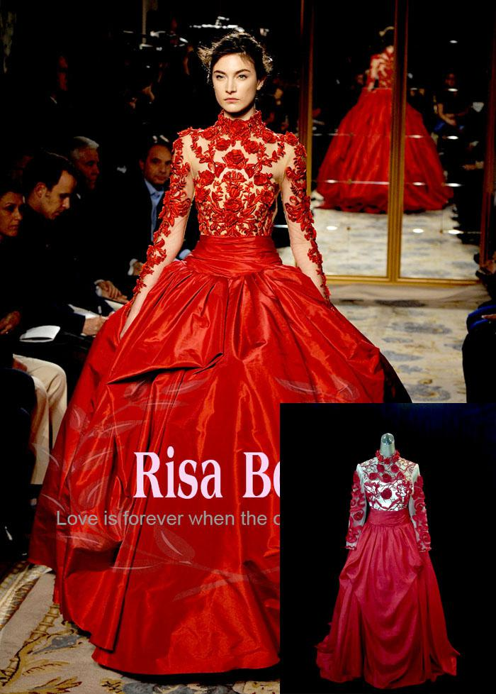 Wholesale bride dresses buy big red high neckline for Big red wedding dresses