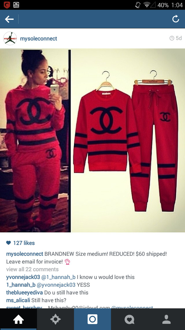 Coco Chanel Inspired Sweat Suit