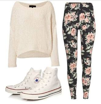 printed leggings converse white sweater jeans