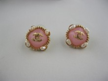 Designer chanel logo stud earrings pink
