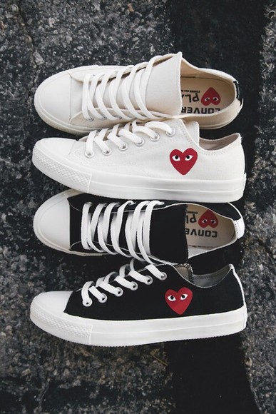 hearts cute black white shoes sneakers