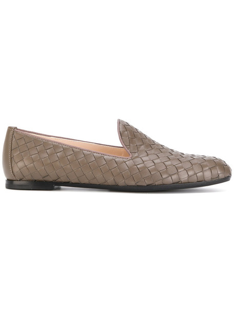 women slippers leather grey shoes