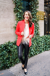 covering bases,blogger,feathers,red jacket,black leggings,leather leggings
