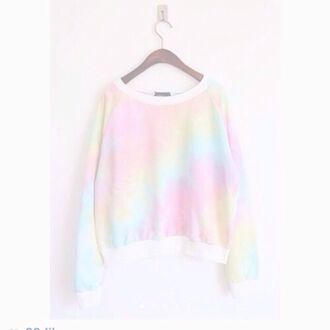 sweater cute pastel top kawaii fashion style pink blue white rainbow adorable outfit yellow tie dye pastel sweater