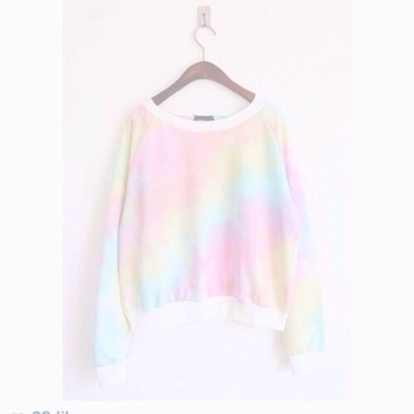sweater rainbow print pastel pale rainbow pastel grunge pale grunge cute sweater ariana grande pastel soft colorful green top kawaii fashion style pink blue white adorable outfit yellow tie dye pastel sweater