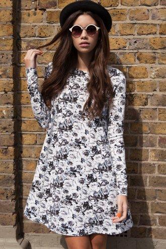 Girls On Film Floral Long Sleeve Swing Dress - Girls On Film from Little Mistress LTD UK