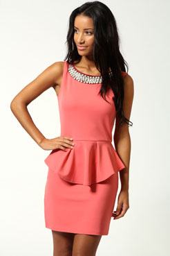Tiffany Embellished Neck Peplum Dress at boohoo.com