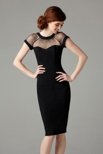 dress classy classy dress see through dress see through knee length dress black dress chique evening dress mesh dress beautiful medium dress elegant