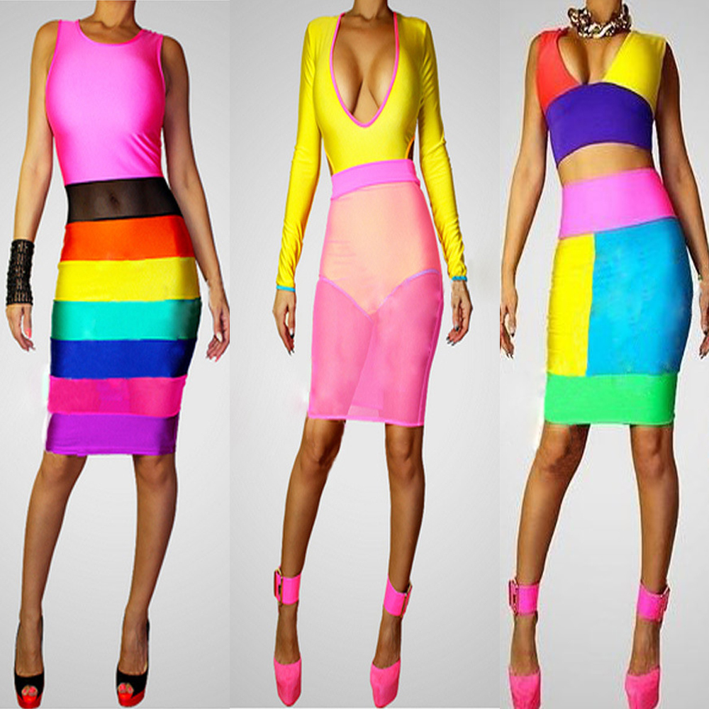 2014 summer new girl rainbow bandage dress women multi color V neck bodycon cocktail clubwear sexy  special occasion prom dress-in Apparel & Accessories on Aliexpress.com