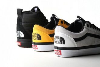 shoes sneakers vans north face streetstyle streetwear street sneakerhead yellow vans yellow white black classic offthewall
