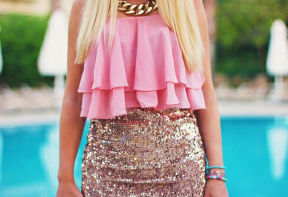skirt light pink top