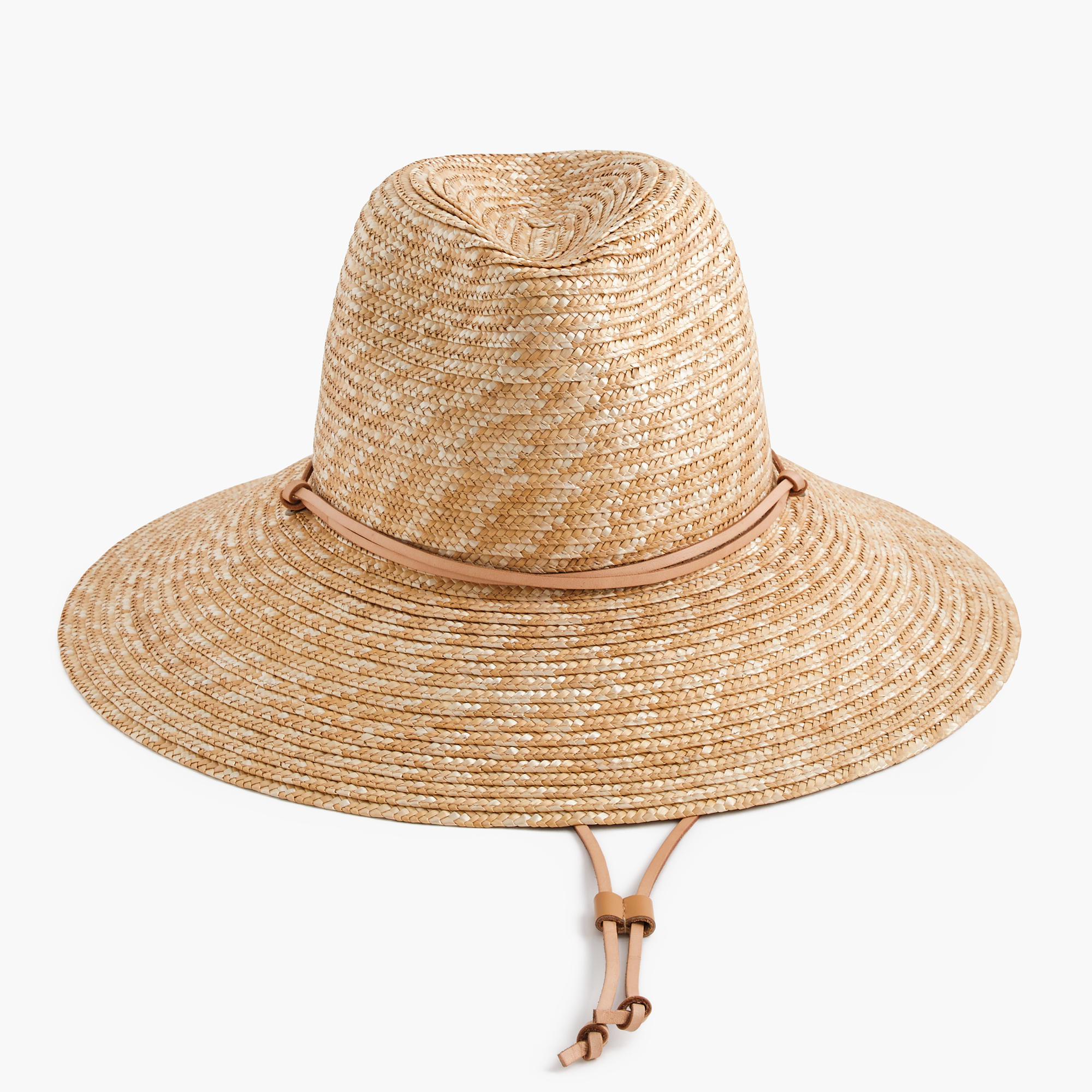 06f90cf19656c2 Wide-brim hat with leather trim