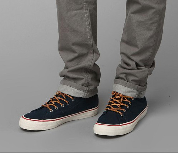 blue shoes navy vans red hiker skate sneakers yellow laces