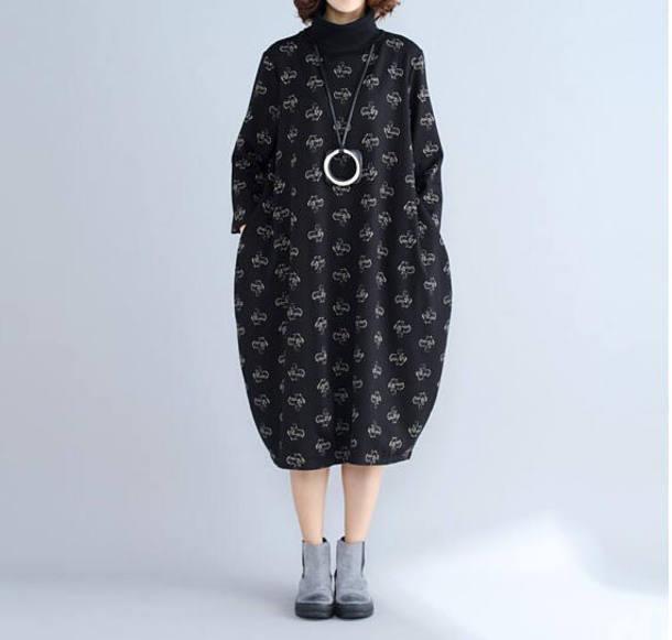 dress printed lantern dress black dress