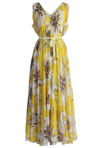 dress marvelous floral chiffon maxi dress in yellow chicwish floral dress yellow dress chiffon dress maxi dress chicwish.com