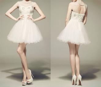 fashion prom dress sequins sequin dress silver white formal dress dress fancy white dress