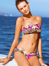 swimwear,bikini,leopard print,floral,bandeau,summer,ruffle,victoria's secret