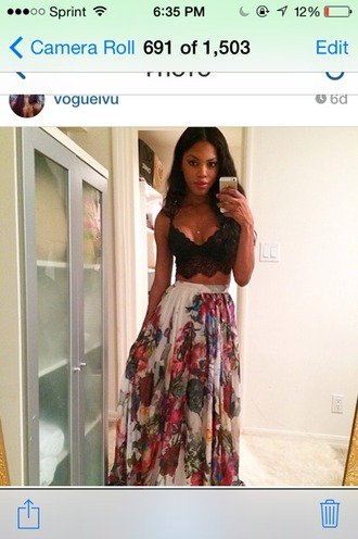 skirt maxi skirt long clothes floral white fashion style pretty flowy colorful maxi skirts bottoms summer outfits summer date outfit girly girl chic tumblr tumblr outfit tumblr girl tumblr clothes trendy vintage classy instagram hipster flowers top red lime sunday african american black girls killin it cute dress