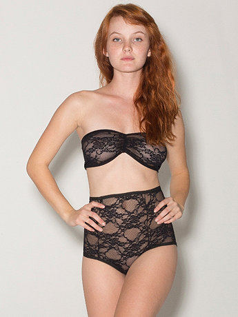 Stretch Floral Lace High-Waist Brief | American Apparel