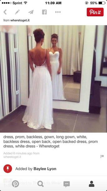 dress white dress open back prom dress