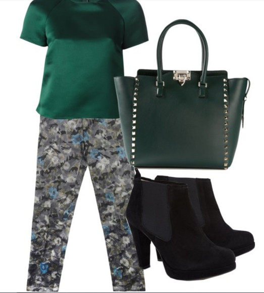 green t-shirt green black shoes bag high heels jeans floral