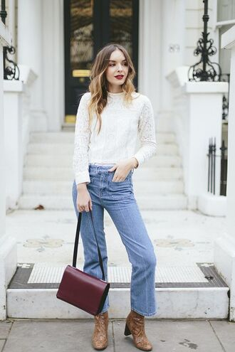 jeans kick flare jeans kick flare blue jeans top white top lace top bag red bag boots animal print fall outfits cropped bootcut jeans cropped bootcut blue jeans